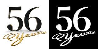 Ο χρυσός αριθμός πενήντα έξι αριθμός 56 και τα έτη επιγραφής με την πτώση σκιάζουν και άλφα κανάλι τρισδιάστατη απεικόνιση ελεύθερη απεικόνιση δικαιώματος