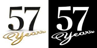 Ο χρυσός αριθμός πενήντα επτά αριθμός 57 και τα έτη επιγραφής με την πτώση σκιάζουν και άλφα κανάλι τρισδιάστατη απεικόνιση ελεύθερη απεικόνιση δικαιώματος
