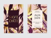 Ο χρυσός, αυξήθηκε χρυσό, σκοτεινό ιώδες και μαύρο πρότυπο γαμήλιων καρτών φοινικών τροπικό, καλλιτεχνικό σχέδιο καλύψεων Χρυσά σ απεικόνιση αποθεμάτων