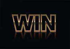 Ο χρυσός κερδίζει το έμβλημα που απομονώνεται σε ένα μαύρο υπόβαθρο Ιδανικό για τη χρήση στα εμβλήματα και τα φυλλάδια ανταγωνισμ διανυσματική απεικόνιση