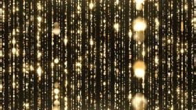 Ο χρυσός μορίων ακτινοβολεί αφηρημένος βρόχος υποβάθρου σκόνης βραβείων φιλμ μικρού μήκους