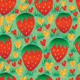 Ο χρυσός φραουλών ακτινοβολεί άνευ ραφής σχέδιο Στοκ εικόνες με δικαίωμα ελεύθερης χρήσης