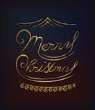 Ο χρυσός Χαρούμενα Χριστούγεννας ακτινοβολεί γράφοντας Στοκ Εικόνα