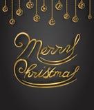Ο χρυσός Χαρούμενα Χριστούγεννας ακτινοβολεί γράφοντας Στοκ Φωτογραφία