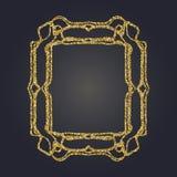 Ο χρυσός Nouveau τέχνης ακτινοβολεί διακοσμητικό διανυσματικό πλαίσιο ορθογωνίων για το σχέδιο Σύνορα ύφους του Art Deco ελεύθερη απεικόνιση δικαιώματος