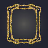 Ο χρυσός Nouveau τέχνης ακτινοβολεί διακοσμητικό διανυσματικό πλαίσιο ορθογωνίων για το σχέδιο Σύνορα ύφους του Art Deco απεικόνιση αποθεμάτων