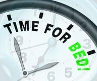 Ο χρόνος για το κρεβάτι παρουσιάζει την αϋπνία ή κούραση διανυσματική απεικόνιση