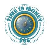 Ο χρόνος είναι έννοια χρημάτων με ένα χρυσό ρολόι σε ένα άσπρο υπόβαθρο Β Στοκ εικόνα με δικαίωμα ελεύθερης χρήσης