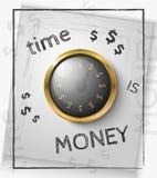 Ο χρόνος είναι έννοια χρημάτων με ένα χρυσό ρολόι Στοκ Φωτογραφίες