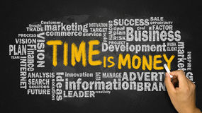 Ο χρόνος είναι χρήματα με το σύννεφο επιχειρησιακής λέξης χειρόγραφο στον πίνακα Στοκ Εικόνες