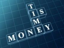 Ο χρόνος είναι χρήματα στις μπλε ομάδες δεδομένων γυαλιού Στοκ Εικόνες