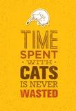 Ο χρόνος που ξοδεύεται με τις γάτες δεν σπαταλιέται ποτέ Χαριτωμένη και ιδιότροπη διανυσματική έννοια κατοικίδιων ζώων Τυπογραφικ Στοκ εικόνες με δικαίωμα ελεύθερης χρήσης