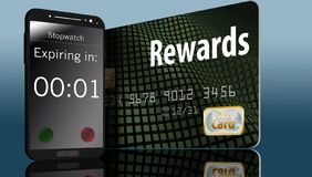 Ο χρόνος τρέχει έξω τη λήξη στις ανταμοιβές πιστωτικών καρτών και ένας χρόνος σε ένα τηλέφωνο κυττάρων δίπλα σε μια κάρτα θίγει α απεικόνιση αποθεμάτων