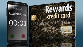 Ο χρόνος τρέχει έξω τη λήξη στις ανταμοιβές πιστωτικών καρτών και ένας χρόνος σε ένα τηλέφωνο κυττάρων δίπλα σε μια κάρτα θίγει α ελεύθερη απεικόνιση δικαιώματος
