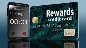 Ο χρόνος τρέχει έξω τη λήξη στις ανταμοιβές πιστωτικών καρτών και ένας χρόνος σε ένα τηλέφωνο κυττάρων δίπλα σε μια κάρτα θίγει α διανυσματική απεικόνιση