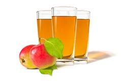 ο χυμός γυαλιού ανασκόπησης μήλων βλαστάησε το λευκό Στοκ Εικόνα