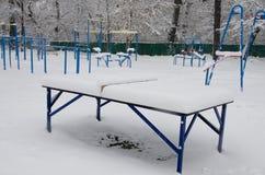 Ο χώρος αθλήσεων καλύπτεται με το άσπρο χιόνι στοκ εικόνες με δικαίωμα ελεύθερης χρήσης