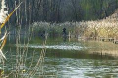 ο ψαράς ατόμων πιάνει ένα ψάρι στον ποταμό Στοκ εικόνες με δικαίωμα ελεύθερης χρήσης