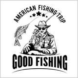 Ο ψαράς με μια ράβδο αλιείας τραβά ένα διάνυσμα σκιαγραφιών ψαριών διανυσματική απεικόνιση