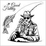 Ο ψαράς με μια ράβδο αλιείας τραβά ένα διάνυσμα σκιαγραφιών ψαριών ελεύθερη απεικόνιση δικαιώματος