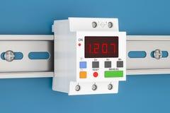 Ο ψηφιακός διακόπτης χρονομέτρων τοποθετεί στη ράγα DIN, τρισδιάστατη απόδοση απεικόνιση αποθεμάτων