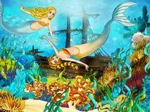 Ο ωκεανός και οι γοργόνες Στοκ Εικόνα