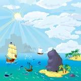 Ο ωκεανός, σκάφη, νησιά απεικόνιση αποθεμάτων