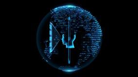 Ολόγραμμα Smartphone Σύμβολο τηλεπικοινωνιών απόθεμα βίντεο