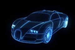 Ολόγραμμα Wireframe αγωνιστικών αυτοκινήτων Τρισδιάστατη απόδοση της Νίκαιας απεικόνιση αποθεμάτων