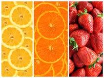 Ολόκληρα φράουλες, πορτοκάλια και λεμόνια Στοκ φωτογραφίες με δικαίωμα ελεύθερης χρήσης