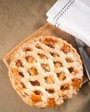 Ολόκληρη αγροτική πίτα μήλων που παρουσιάζεται άνωθεν στοκ εικόνες