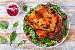 Ολόκληρη ψημένη στη σχάρα σαλάτα κοτόπουλου και arugula, σπανακιού και των βακκίνιων Στοκ Φωτογραφία