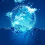 Ολόκληρος κόσμος στη φυσαλίδα νερού Στοκ Εικόνες
