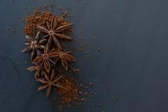 Ολόκληρο και αλεσμένο γλυκάνισο αστεριών στην πλάκα Στοκ Εικόνες