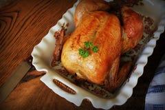 Ολόκληρο ψημένο κοτόπουλο στο μαγείρεμα casserole του πιάτου αφηρημένος τρύγος δομών φωτογραφιών ανασκόπησης ομοιογενής στοκ εικόνα
