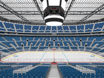Ο όμορφος αθλητικός χώρος για το χόκεϋ πάγου με τα μπλε VIP κιβώτια καθισμάτων τρισδιάστατα δίνει στοκ φωτογραφία