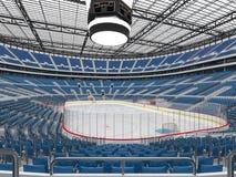 Ο όμορφος αθλητικός χώρος για το χόκεϋ πάγου με τα μπλε VIP κιβώτια καθισμάτων τρισδιάστατα δίνει στοκ φωτογραφίες