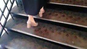 Ο όμορφος διαβαθμισμένος κύριος κοριτσιών ανεβαίνει τα σκαλοπάτια στο πανεπιστήμιο απόθεμα βίντεο