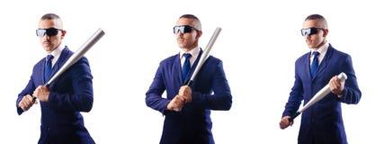 Ο όμορφος επιχειρηματίας με το ρόπαλο στο λευκό Στοκ Εικόνα