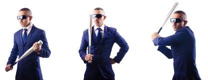 Ο όμορφος επιχειρηματίας με το ρόπαλο στο λευκό Στοκ εικόνα με δικαίωμα ελεύθερης χρήσης