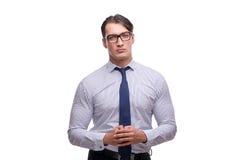 Ο όμορφος επιχειρηματίας που απομονώνεται στο άσπρο υπόβαθρο Στοκ φωτογραφία με δικαίωμα ελεύθερης χρήσης