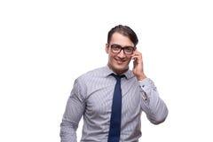 Ο όμορφος επιχειρηματίας που εργάζεται το κινητό τηλέφωνο που απομονώνεται με στο λευκό Στοκ φωτογραφία με δικαίωμα ελεύθερης χρήσης