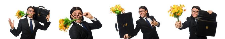 Ο όμορφος επιχειρηματίας το λουλούδι και τη συνοπτική περίπτωση που απομονώνονται με στο λευκό στοκ εικόνα με δικαίωμα ελεύθερης χρήσης