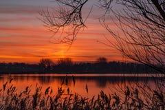 Ο όμορφος μαργαριταρένιος ουρανός που βλέπει από την ακτή των plas Zoetermeerse λιμνών, Κάτω Χώρες στοκ φωτογραφίες με δικαίωμα ελεύθερης χρήσης