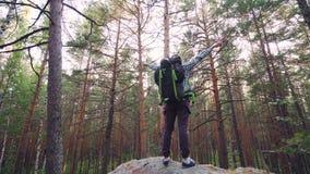 Ο όμορφος τύπος που φορά την εξάρτηση τουριστών με το σακίδιο πλάτης αναρριχείται επάνω στην κορυφή του βράχου, η αύξηση δίνει τη απόθεμα βίντεο