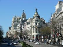 Οδός και Gran Alcala μέσω της λεωφόρου στη Μαδρίτη Στοκ Εικόνα