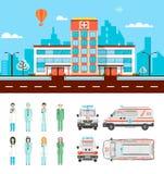 Οδός με το νοσοκομείο Στοκ εικόνες με δικαίωμα ελεύθερης χρήσης