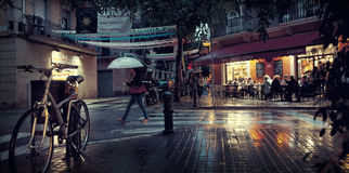 Οδός νύχτας της Βαρκελώνης Στοκ Φωτογραφία