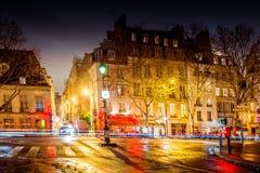 Οδός νύχτας του Παρισιού Στοκ Εικόνες