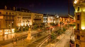 Οδός Ο ` Connell τή νύχτα Ιστορικές θέσεις του Δουβλίνου Ιρλανδία Στοκ Εικόνες